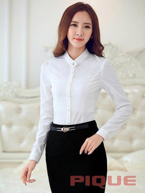 Белая офисная блузка PIQUE