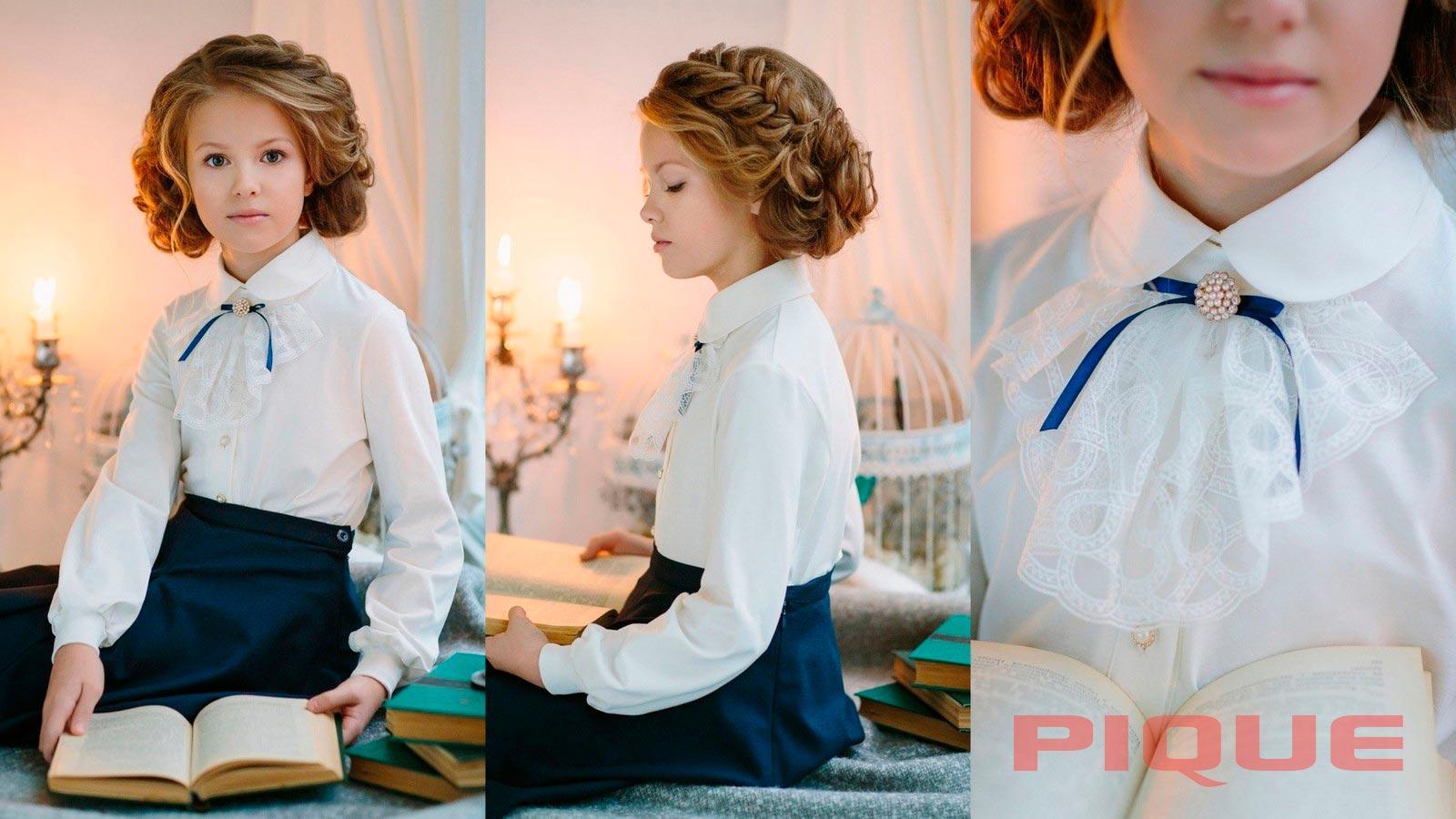 Белая школьная блузка для девочки младших классов